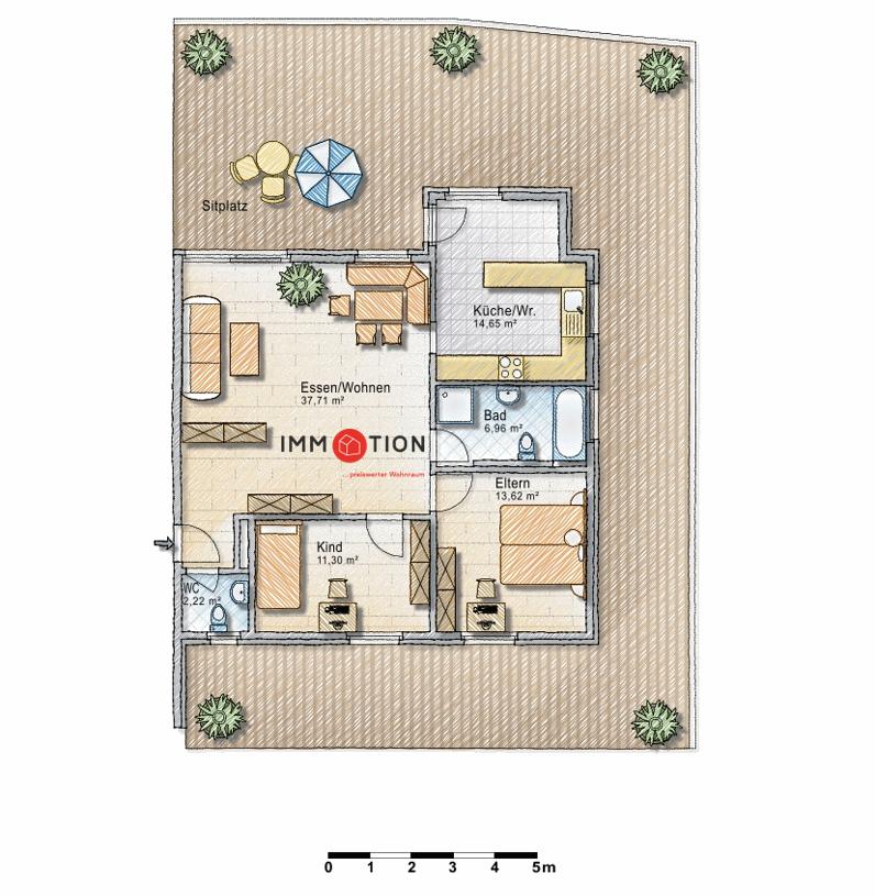 3,5 Zimmerwohnung mit grosszügiger Terrasse   gepflegte Liegenschaft   Eschen